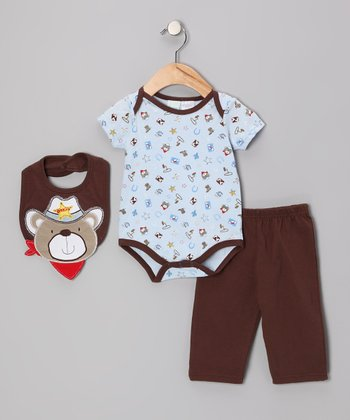 Brown Sheriff Bear Bodysuit Set - Infant
