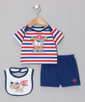 Blue Stripe Dog Tee Set - Infant