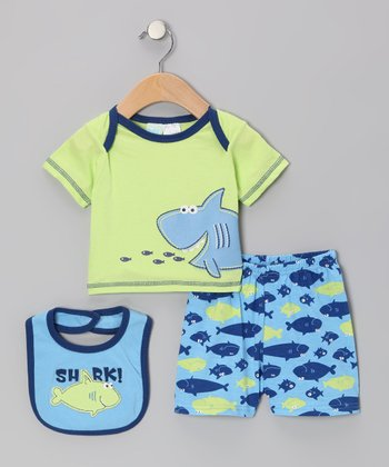 Lime Green Shark Tee Set - Infant