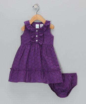 Purple Ruffle Sundress & Diaper Cover  - Infant