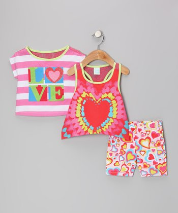 Hot Pink 'LOVE' Tee Set - Infant