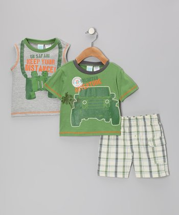 Green 'Adventure' Tee Set - Toddler