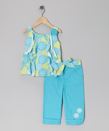 Turquoise Medallion Ruffle Tank & Pants - Toddler