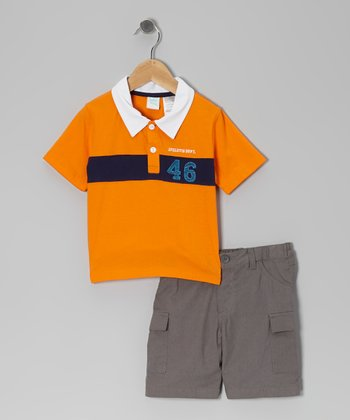 Orange Polo & Gray Twill Cargo Shorts - Toddler