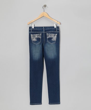 Dark Wash Embroidered Butterfly Jeans - Girls