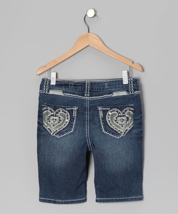 Medium Wash Heart Bermuda Shorts