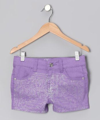 Purple Sequin Shorts