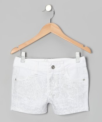 White Sequin Shorts - Girls