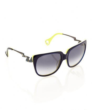 Betsey Johnson Blue & Yellow Thunderstruck Sunglasses