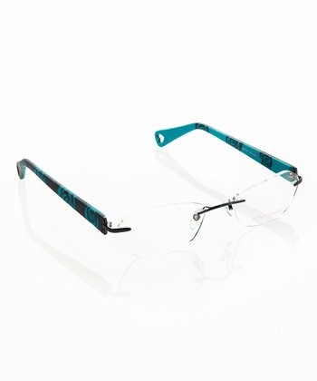 Betsey Johnson Navy Petal Pusher Eyeglasses