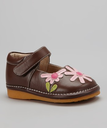 Brown & Light Pink Daisy Squeaker Mary Jane
