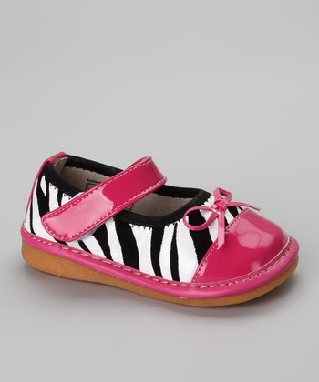 Zebra & Hot Pink Squeaker Mary Jane