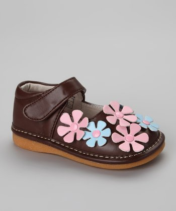 Brown & Blue Blooms Squeaker Mary Jane