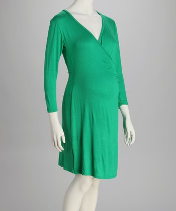 Green Maternity Wrap Dress