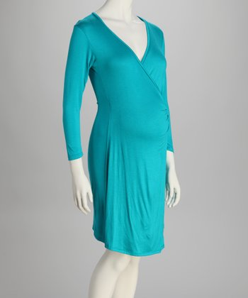 Turquoise Maternity Wrap Dress