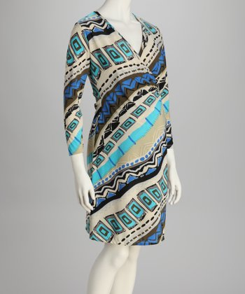 Turquoise & White Maternity Wrap Dress