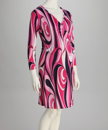 Pink & Black Maternity Wrap Dress