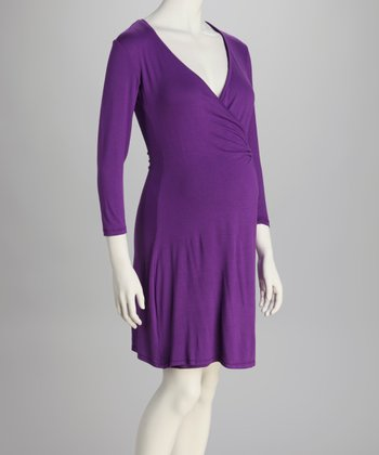 Purple Maternity Wrap Dress