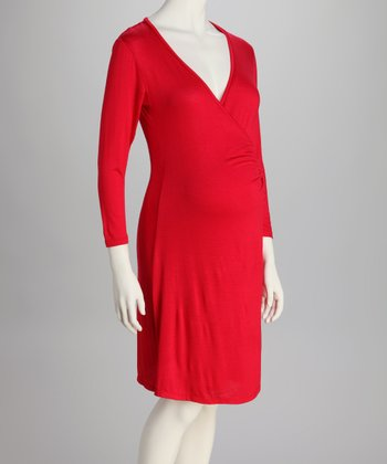 Red Maternity Wrap Dress