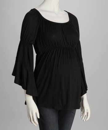 Black Bell-Sleeve Maternity Top