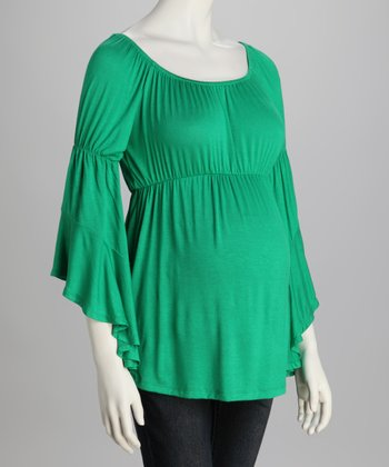 Green Bell-Sleeve Maternity Top