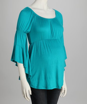 Turquoise Bell-Sleeve Maternity Top