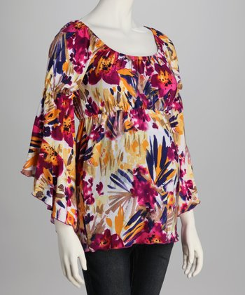 Magenta & Yellow Floral Bell-Sleeve Maternity Top