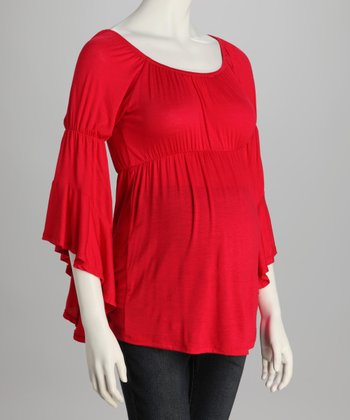 Red Bell-Sleeve Maternity Top
