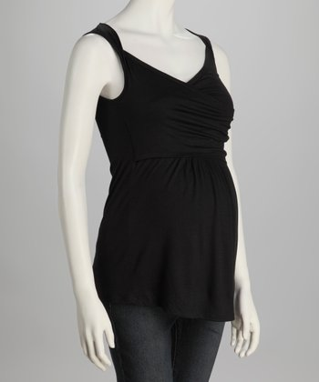 Black Ruched Maternity Top