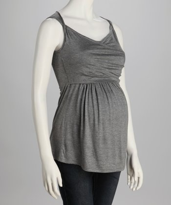 Charcoal Ruched Maternity Top