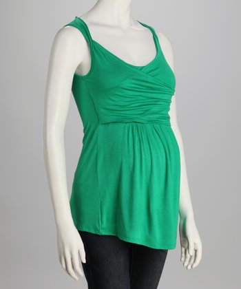 Green Ruched Maternity Top
