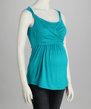 Turquoise Ruched Maternity Top