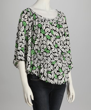 White & Green Leaf Dolman Maternity Top