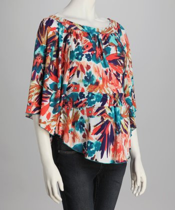 Blue & Peach Dolman Maternity Top