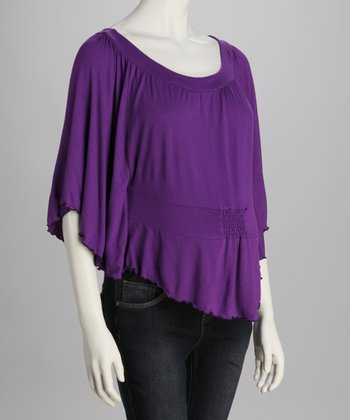 Purple Ruffle Dolman Top