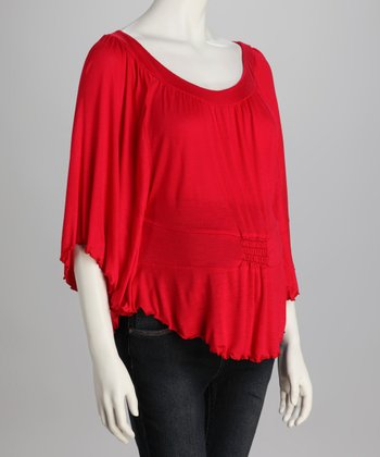 Red Ruffle Dolman Top
