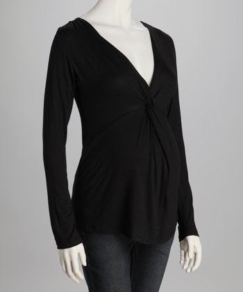 Black Knot-Front Maternity Top