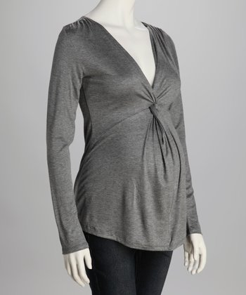 Charcoal Knot-Front Maternity Top