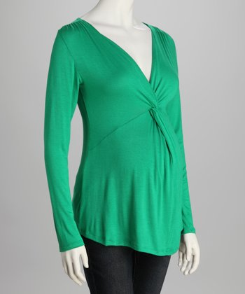 Green Knot Front Maternity Top
