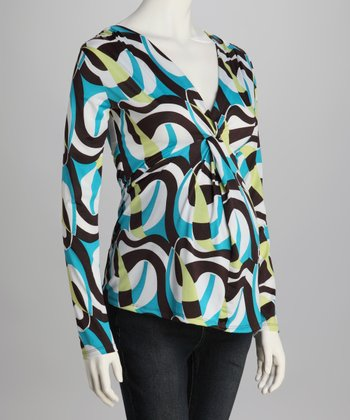 Turquoise & Brown Knot Front Maternity Top