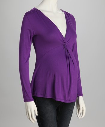 Purple Knot-Front Maternity Top