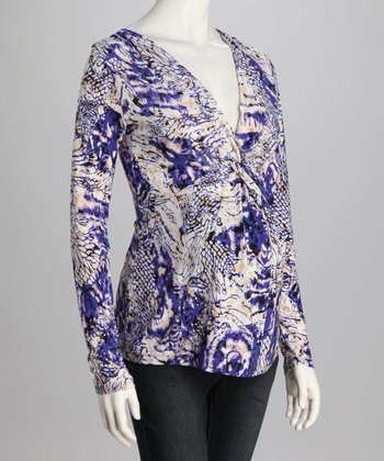 Purple & White Knot Front Maternity Top