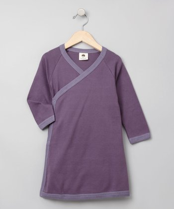 Blackberry & Violet Long-Sleeve Kimono Dress - Toddler
