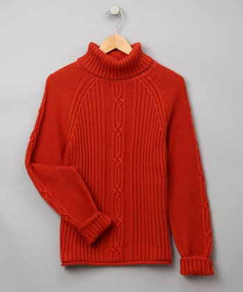 Terra Cotta Cable-Knit Sweater