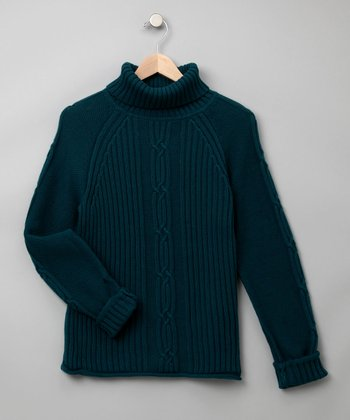 Jacobean Teal Cable-Knit Sweater