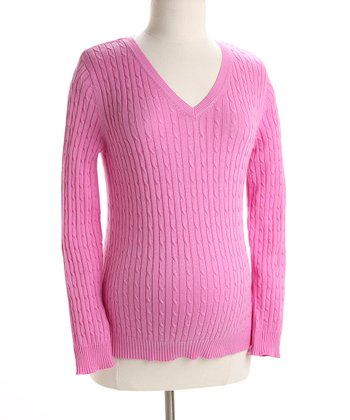 Bubblegum Pink Cable V-Neck Maternity Sweater