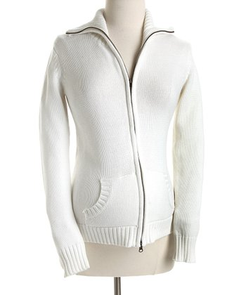 Lilo Maternity - Off-White Zip-Up Maternity Sweater