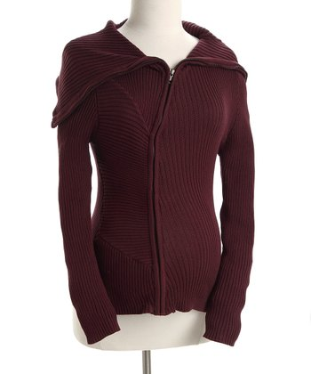 Burgundy Ribbed Shawl Collar Maternity Sweater