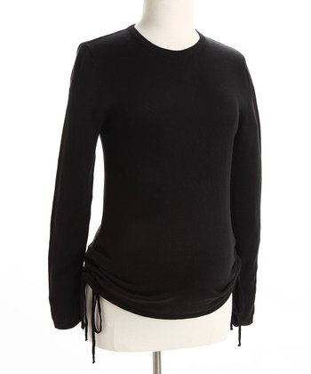 Black Ruched Maternity Sweater
