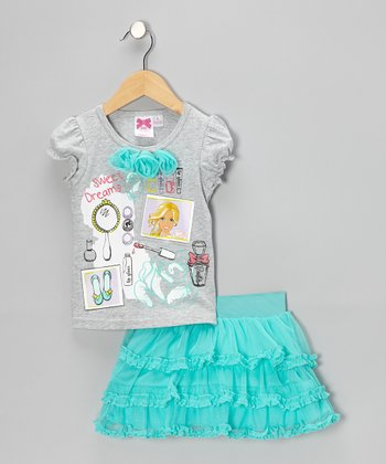 Teal & Gray Barbie Tee & Skirt - Toddler & Girls